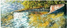 "awash in sunlight 10"" x 30""  riddell bay bda  micheal zarowsky / watercolour on arches paper / (private collection)"