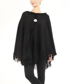 Look at this #zulilyfind! Black Fringe Poncho - Women #zulilyfinds