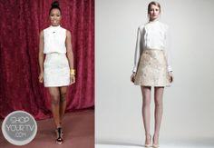 The X Factor: Season 3 Kelly Rowland's Metallic Floral Print Skirt