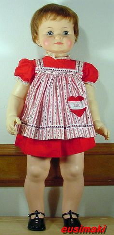 "1960 Ideal Saucy Walker Doll 32"" with original clothes and shoes"