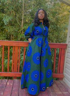 African Shirt Dress, African Dresses For Kids, African Maxi Dresses, African Shirts, Maxi Shirt Dress, Latest African Fashion Dresses, African Print Fashion, African Attire, Balloon Sleeves