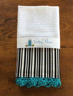 Kitchen Towel - Black Stripe with Turquoise Trim