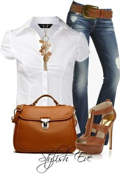 Casual Friday smart Smart in my case would be different shoes! But love the outfit otherwise! Mode Outfits, Casual Outfits, Summer Outfits, Fashion Outfits, Womens Fashion, Fashion Trends, Dressy Jeans Outfit, Outfits 2014, Summer Wear