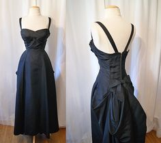 Stunning 1950's black satin sweetheart party evening gown with bustle holiday NYE glamour bombshell - size Small to Medium. $398.00, via Etsy.
