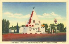 """Here's another of those kitschy highway stops of early roadside America! It's long-gone now, but """"Gironimo's Castle,"""" shaped like a huge wigwam in Bowie, Arizona must have been a great draw for hot, hungry, thirsty and weary motorists on their Arizona vacation. It not only served as a gas station, cafe and gift shop ( it was also a Greyhound Bus Depot! The fact that they advertised air conditioning and beer must have brought them lots of business!"""