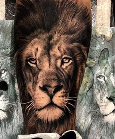 Lion tattoos hold different meanings. Lions are known to be proud and courageous creatures. So if you feel that you carry those same qualities in you, a lion tattoo would be an excellent match Lion Leg Tattoo, Lion Tattoo Sleeves, Lion Head Tattoos, Lion Tattoo Design, Lion Woman Tattoo, Female Lion Tattoo, Mens Lion Tattoo, Lion Design, Tattoo Designs