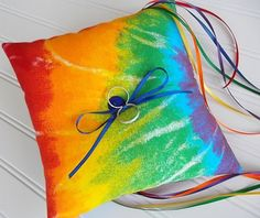 Rainbow Ring Bearer Pillow Beach Wedding von CatherinePicone