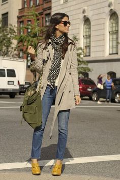 Shoes: Seychelles, Trench: Elizabeth And James Via Tj Maxx, Scarf: Kelly Wearstler, Sweater: Aritzia, Bag: Coach, Sunnies: Laila Rowe, Jeans: Juicy Couture - Photos: Linda Calla