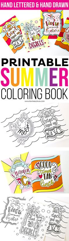 Enjoy Coloring these Hand Lettered Coloring Pages for Adults or Kids! Includes 9 Coloring Pages and art prints for each design in 8