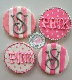 """A very sweet cookie set!Perfect for that Victoria secret lover in your life!Cookies are handmade and carefully decorated just for you...Set comes with the following:-6 Striped cookies with """"VS"""" logo-6 Polka dot cookie with """"Pink"""" logoCookies measure approximately 3 inches each.Each comes individually wrapped and sealed for max protection and freshness"""