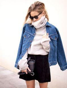 #winter #style #turtleneck #jean #jacket