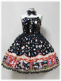 STAR NIGHT THEATER BARE JSK  STAR NIGHT THEATERベアジャンパースカート    Brand: Angelic Pretty    Release Year: 2009    Price: ¥27,090    Available Colors:Black    Measurements: 90cm length, 90~100cm bust, 70~80cm waist    Materials: Burberry original print (100% cotton) fabric, tulle and torchon lace, cotton satin ribbon    Additional Information: The lace has an original logo pattern. The choker, brooch badges, waist tulle frill brooch and the back ribbon are detachable. The dress has shirring