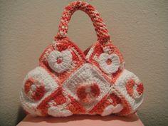 Valentines Crochet Handbag in Rose and White Hearts. $65.00, via Etsy.