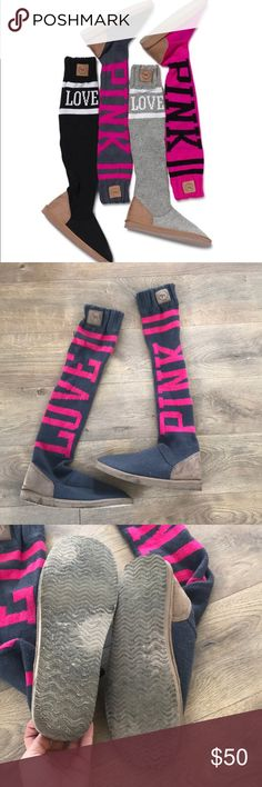 PINK mukluk boots Good lightly used condition. Knit top. Rare. Size 9/10 PINK Victoria's Secret Shoes