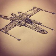 X wing fighter / Star Wars tattoo sketch by - Ranz