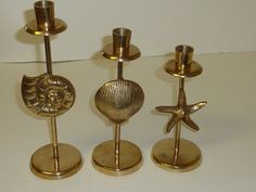 Vintage Brass Candle Holders Solid Brass Sea by labaublesandbags, $40.00