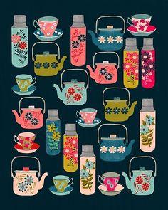 Pattern Art, Pattern Design, Print Patterns, Surface Pattern, Tea Cup Drawing, Andrea Lauren, Amanda, Buch Design, Tea Art
