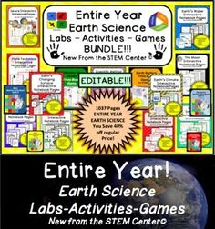 Earth Science EDITABLE!!! OVER 1000 Pages of Labs, Activities, and Games Bundle! - EDITABLE!!! -YOU SAVE OVER 50%!!!We all agree the best part of being a teacher is teaching. Wouldnt it be great to spend more time teaching and less time creating lessons?