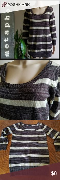 Metaphor Striped Glitter Thread Accent Sweater Size XL Beige & Wine Colored Sweater with Gold Glittery Thread to Accent Throughout. Metaphor Sweaters Crew & Scoop Necks