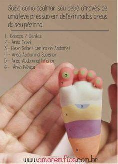 Pontos para acalmar o bebê com massagem no pezinho. Se a gente que é grande gosta, por que os pequenininhos não né?