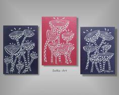 Acrylmalerei - Acrylbild auf Malpappe *Crazy Flowers Trio * #030 - ein Designerstück von SoMa-Art bei DaWanda