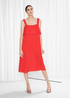 & Other Stories Sheer Silk Dress in Red