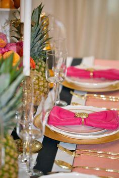 Hot pink napkins, garland, table overlays and napkin rings and coasters at Kansas City alwayselegant.com