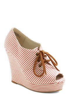 Summer Birthday Wedge by BC Shoes - Tan / Cream, Stripes, Nautical, Spring, Red, Wedge.