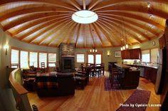 Wood yurt interior.