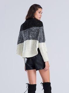 Color Block High Neck Cable Knit Cape Sweater