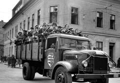 A lorry full of enthusiastic young partisans with weapons, supplied by the Hungarian army, who were loosely organised into a resistance movement Border Guard, European History, Life Magazine, Cold War, The Guardian, Budapest, Revolution, World, News
