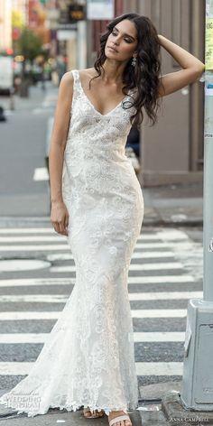 anna campbell fall 2018 bridal sleeveless v neck full embellishment elegant  fit and flare sheath wedding 3255fb208f0