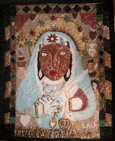 Erzulie Freda   Eviland Lalanne   drapo Vodou Erzulie Freda, Haitian Revolution, Haitian Art, Sacred Art, West Indies, Voodoo, Flag, Money, Artist