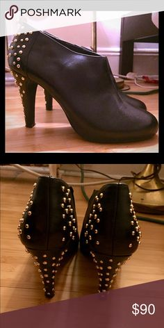 Badass black booties Steve Madden black heeled booties with gold studs lining the heels. A statement for sure Steve Madden Shoes Heeled Boots