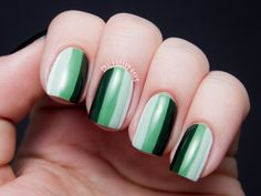 Chalkboard Nails: Green Ombre Stripes using Zoya Nail Polish