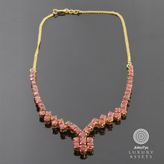 Flat Link #Necklace with a #Ruby Centre Design