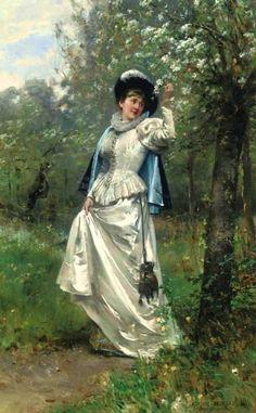 Moreau, Adrien (b,1843)- Beneath Cherry Blossoms, 1881