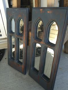 Original pair of mirrors, painted in Midnight Blue, distressed, and dark glazed   ~The Decor Vault~ www.facebook.com/thedecorvault
