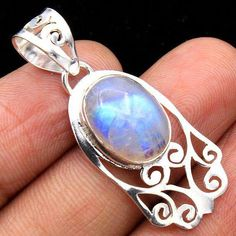e11e396032d2 Natural Blue Rainbow Moonstone AAA Quality 925 Sterling Silver Filigree  oval Gemstone Designer Women Hand Made