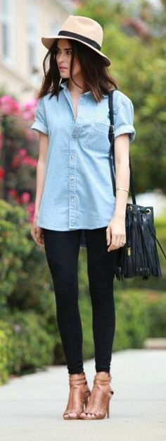 Chambray button down + black skinny jeans.