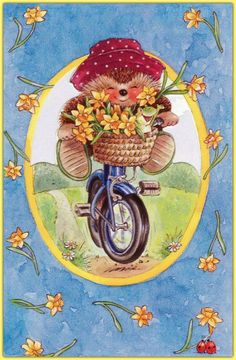 ♥ Country Companions ♥ I want a hedgehog!!!  Riding a bicycle!!  With a basket of flowers and a cute hat!!!!
