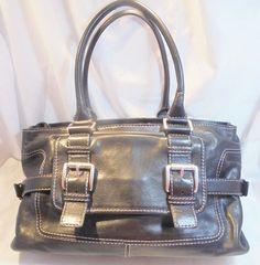 MICHAEL KORS Black Leather Purse Shoulder Bag Satchel Handbag Buckles A-0611 WOW #MichaelKors #ShoulderBag