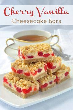 Cherry Vanilla Cheesecake Bars – a very festive and easy cheesecake cookie bar recipe. Perfect for the Holiday freezer. One of Rock Recipes TOP 25 most popular recipes of over 1400 published. Rock Recipes, Cherry Recipes, Bar Recipes, Healthy Recipes, Cream Recipes, Baking Recipes, Cookie Recipes, Dessert Recipes, Cheesecake Bars