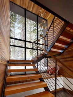 Modern Staircase Design, Pictures, Remodel, Decor and Ideas - page 2 (Cool Designs Stairs) Rustic Staircase, Staircase Design, Open Staircase, Wood Stairs, Stair Design, Stairs Window, Glass Stairs, Escalier Design, Modern Mountain Home