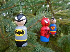 Superhero Peg Doll Christmas Ornaments