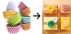 Use cupcake liners to make flower toppers for your gifts - 24 Cute And Incredibly Useful Gift Wrap DIYs
