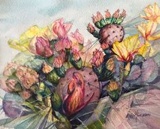 Hugging A Cactus Plant Painting, Painting & Drawing, Watercolor Cactus, Watercolor Paintings, Le Far West, Tiny Flowers, Cacti And Succulents, Art Blog, Art Projects