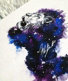 galaxy watercolor tattoo lion design