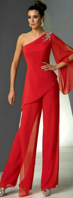 One Shoulder Mother of the bride pant suits dresses Red chiffon pants outfit - Mother Of The Bride Pantsuits