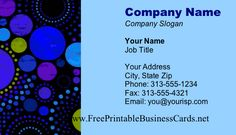 A printable business card with teal blue and deep yellow, plus several sizes of circles in an attractive pattern. Free to download and print